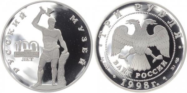 """Russland 3 Rubel 1998 - """"Sceavola"""" Skulptur"""