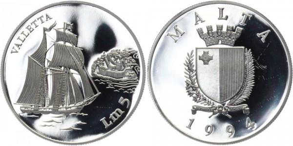 "MALTA 5 Lire 1994 - Segelschiff ""Valletta"""