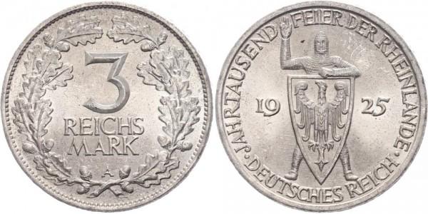 Weimarer Republik 3 Reichsmark 1925 A Rheinlande