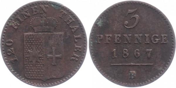 Waldeck 3 Pfennig 1867 B Kursmünze