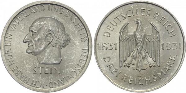 Weimarer Republik 3 Mark 1931 A Freiherr vom Stein