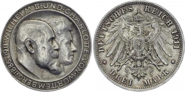 WÜRTTEMBERG 3 Mark 1911 F Wilhelm II. Silberhochzeit