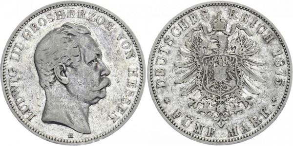 HESSEN 5 Mark 1875 H Ludwig III.