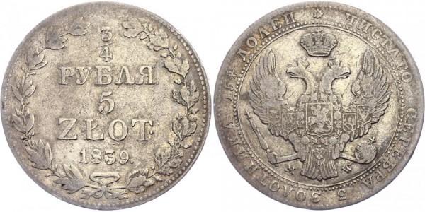 Russland für Polen 3/4 Rubel/5 Zlotych 1839 - Nikolaus I., 1825-1855