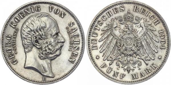 SACHSEN 5 Mark 1904 E Georg