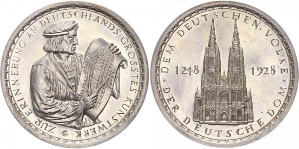Deutschland/Köln Medaille 1928 - Der deutsche Dom; zur Erinnerung an Deutschlands größtes Kunstwerk