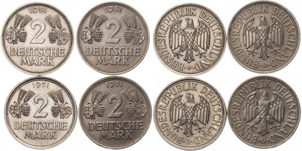 """BRD Komplettserie """"F"""" """"D"""" J"""" """"G"""" 4x 2 Mark 1951 - Ähren"""