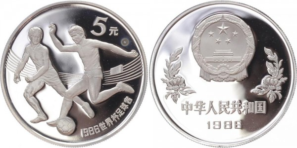 China 5 Yuan 1986 - Fussball WM Mexiko