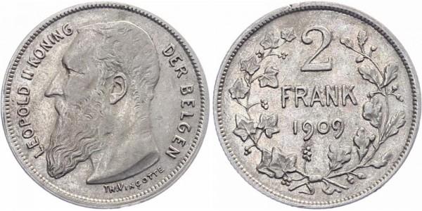 Belgien 2 Franken 1909 - Leopold II