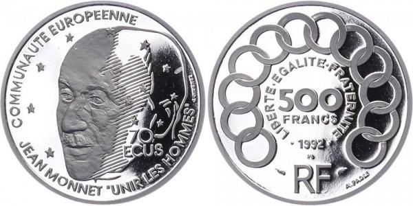 Frankreich 500 Francs/70 Ecus 1992 - Jean Monnet