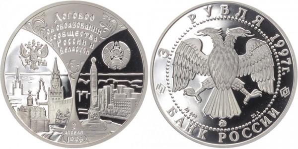 Russland 3 Rubel 1997 - Gemeinschaft Russland und Weißrussland