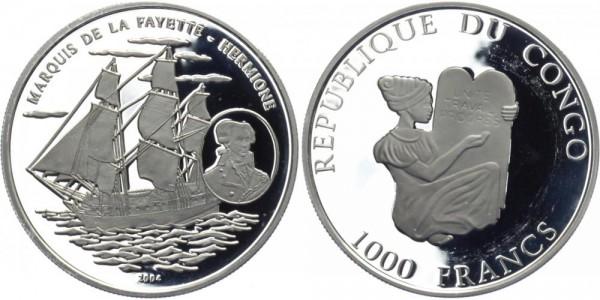 KONGO 1000 Francs 2004 - Marquis de la Fayette - Hermione