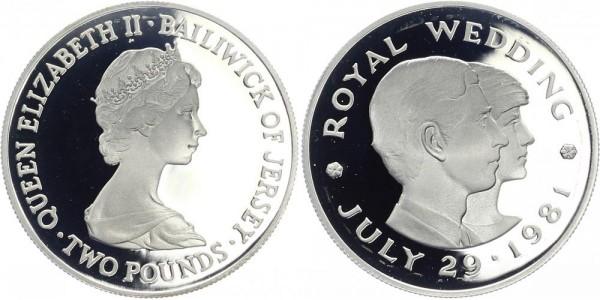 JERSEY 2 Pounds 1981 - Hochzeit von Prince Charles und Lady Diana
