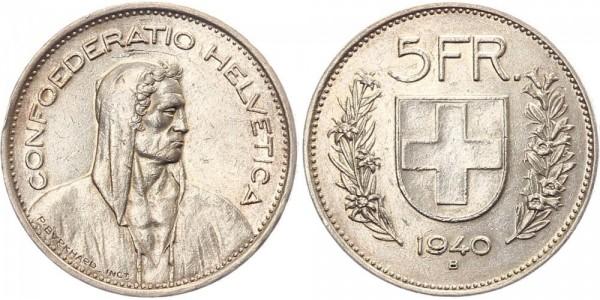Schweiz 5 Franken 1940 B