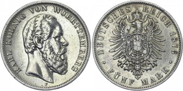 WÜRTTEMBERG 5 Mark 1876 F Karl