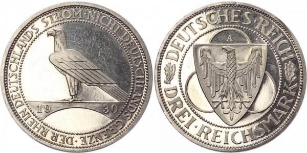 Weimarer Republik 3 Reichsmark 1930 - Rheinlandräumung