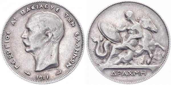 Griechenland 1 Drachme 1910/11 - Georg I.