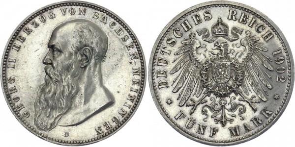 SACHSEN-MEININGEN 5 Mark 1902 D Georg II.