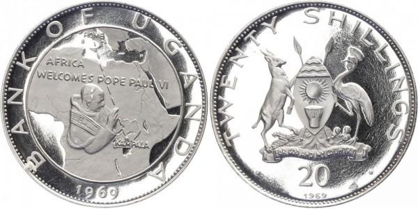 Uganda 20 Shillings 1969 - Papst Paul VI.