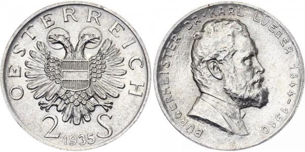 Österreich 2 Schilling 1935 - Lueger