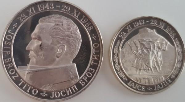 """Jugoslawien 50+20 Dinar 1968 25 Jahre Republik, Josip Broz Tito, """"NI"""" - Mailand PP"""