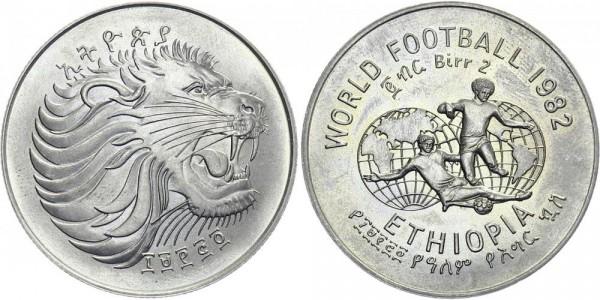 Äthiopien 2 Birr 1982 - Löwenkopf - World Football