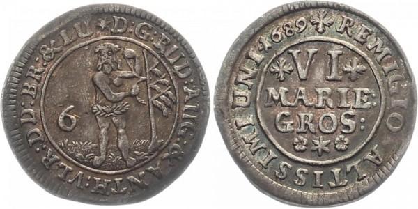 Braunschweig-Wolfenbüttel 6 Mariengroschen 1689 - Rudolf August und Anton Ulrich