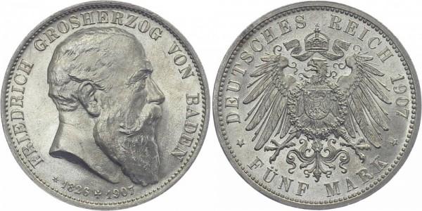BADEN 5 Mark 1907 G Friedrich I. Auf den Tod