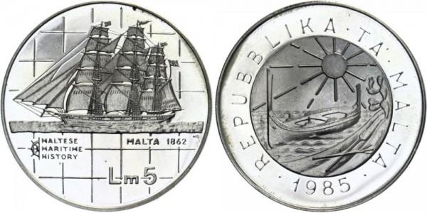 MALTA 5 Liri 1985 - Maltische Marine Geschichte