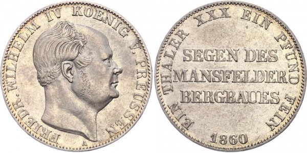 Preussen Taler 1860 - Wilhelm IV., Segen des Mansfelder Bergbaues