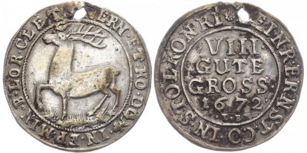 Stolberg-Wernigerode 8 Groschen 1672 B Heinrich Ernst 1645-1672
