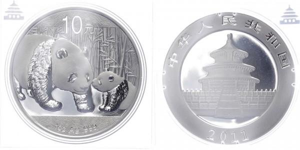 China 10 Yuan 2011 - Panda, 1 Unze Silber