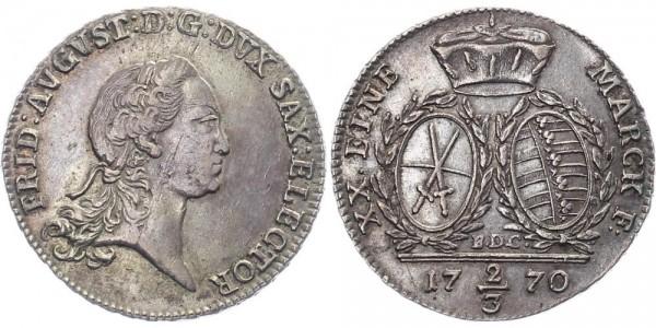 Sachsen 2/3 Taler 1770 Dresden - Albertinische Linie Friedrich August III.