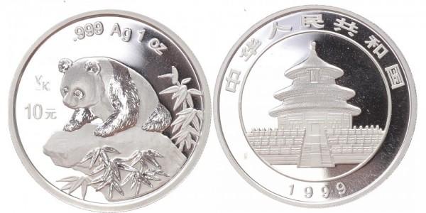 """China 10 Yuan 1999 - Panda, Stempel """"Y2K"""""""