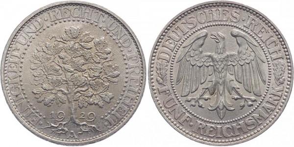 Weimarer Republik 5 Reichsmark 1929 A Eichbaum