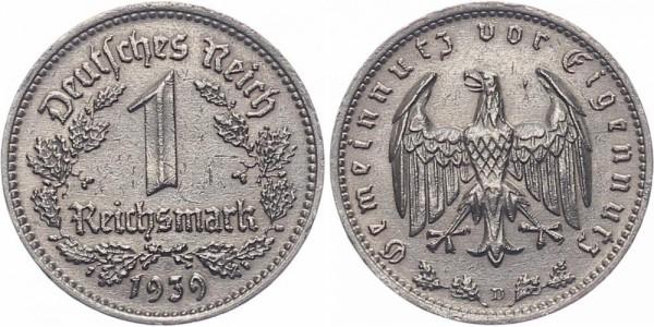 Drittes Reich 1 Reichsmark 1939 D