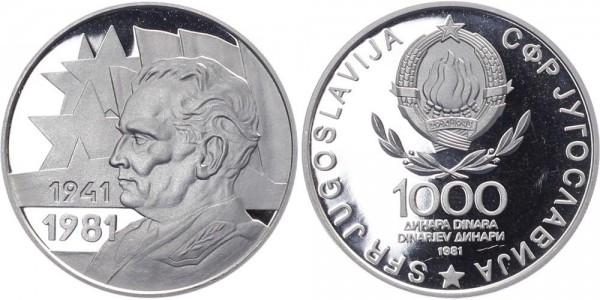 Jugoslavien 1000 Dinar 1981 - 40. Jahre Revolution