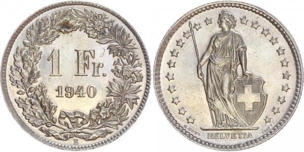 Schweiz 1 Franken 1940 B Kursmünze