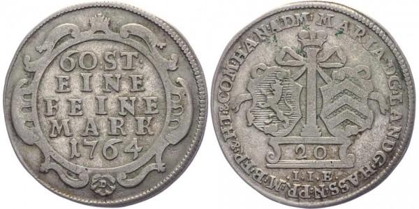Hanau-Münzenberg 20 (Konv.-)Kreuzer 1764 - Maria von England, Vormund für Wilhelm (IX.) 1760-1764