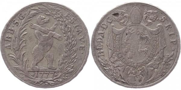 Schweiz Taler 1777 St. Gallen Abtei