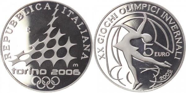 Italien 5 Euro 2005 Olympiade Turin 2006 Eiskunstlauf PP