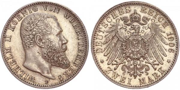 Württemberg 2 Mark 1906 F Wilhelm II. 1892 - 1914