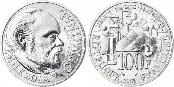 Frankreich 100 Francs 1985 - Emile Zola