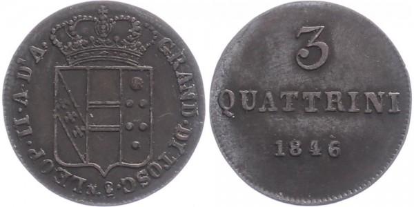 Italien/ Toskana 3 Quattrini 1846 - Kursmünze