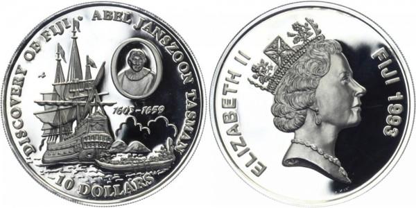 FIDSCHI 10 Dollars 1993 - Entdeckung Fidschis A.J. Tasman