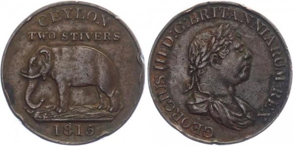 CEYLON 2 Stivers 1815 - Elefantenmotiv