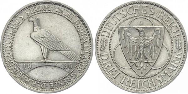 Weimarer Republik 3 Mark 1930 A Rheinlandräumung