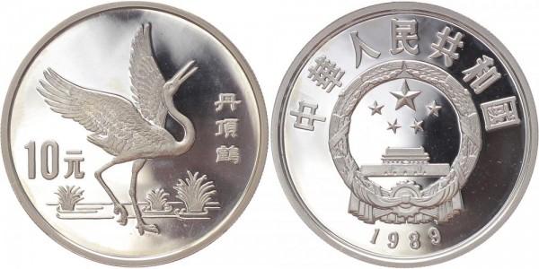 China 10 Yuan 1989 - Kranich