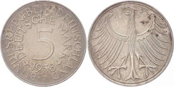 BRD 5 Mark 1958 J Kursmünze