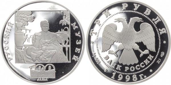Russland 3 Rubel 1998 - Frau trinkt Tee